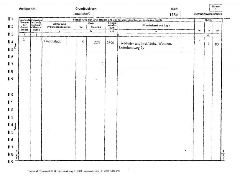 Bestandsverzeichnis